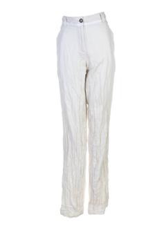 Pantalon casual ecru LILIANE H pour femme
