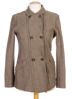 120% lino vestes femme de couleur marron