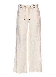 nathalie garcon pantalons femme de couleur beige
