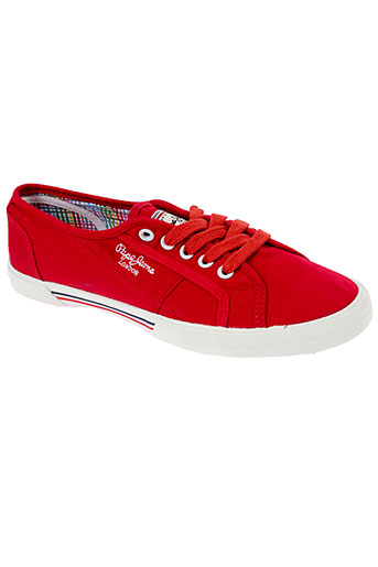pepe et jeans baskets femme de couleur rouge