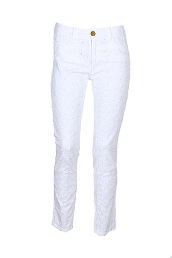 may&june pantalons femme de couleur blanc