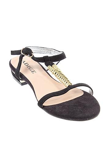 adige sandales et nu et pieds femme de couleur noir