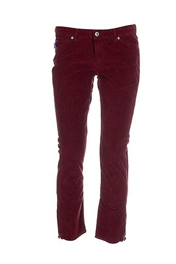 renhsen pantalons femme de couleur rouge