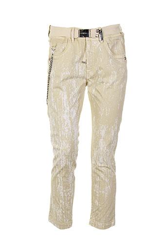 high pantalons femme de couleur beige