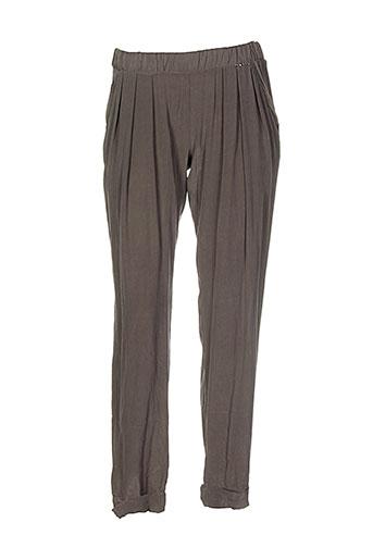 h.eich pantalons femme de couleur vert