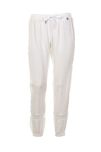 met and friends pantalons femme de couleur blanc