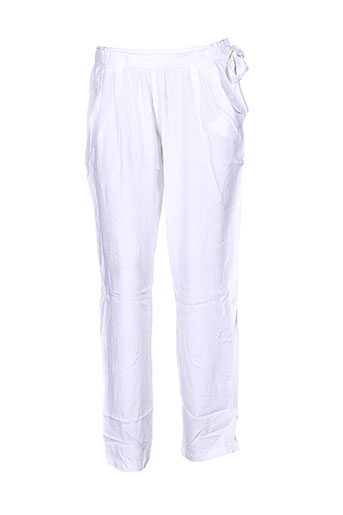 coton du monde pantalons femme de couleur blanc