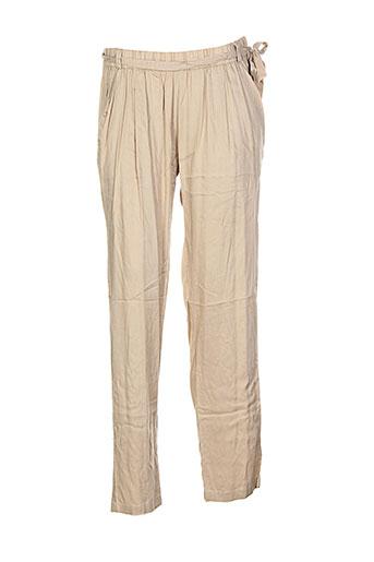 coton du monde pantalons femme de couleur beige