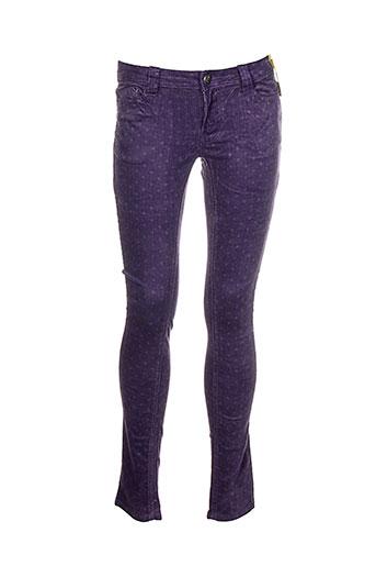 blue rags pantalons femme de couleur violet