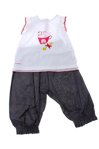 berlingot t et shirt et pantalon fille de couleur gris