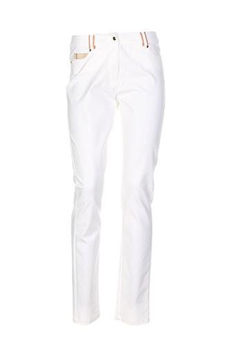 leslie pantalons et decontractes femme de couleur blanc