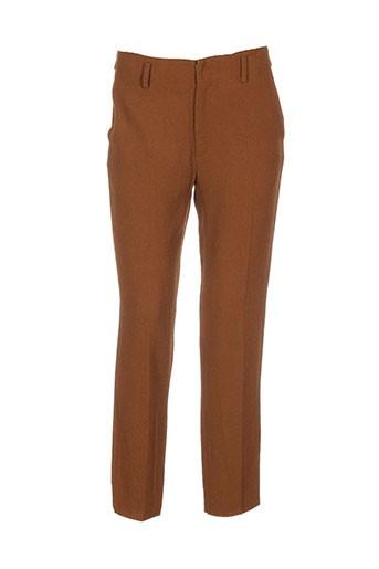 forte-forte pantalons femme de couleur marron