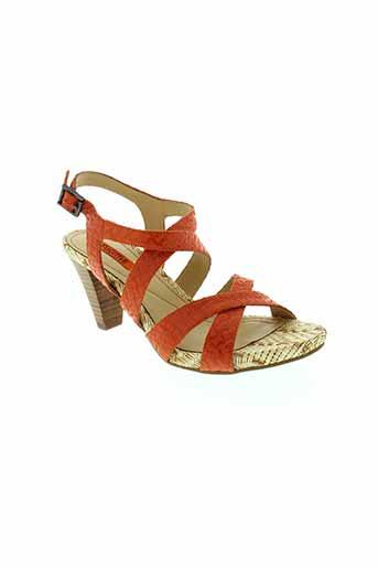 fugitive sandales et nu et pieds femme de couleur orange
