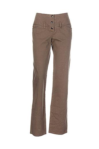 helena sorel pantalons femme de couleur marron