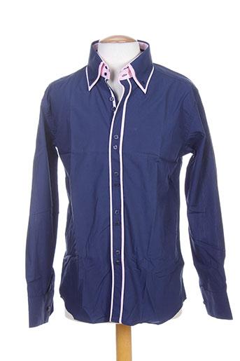biaggio chemises homme de couleur bleu