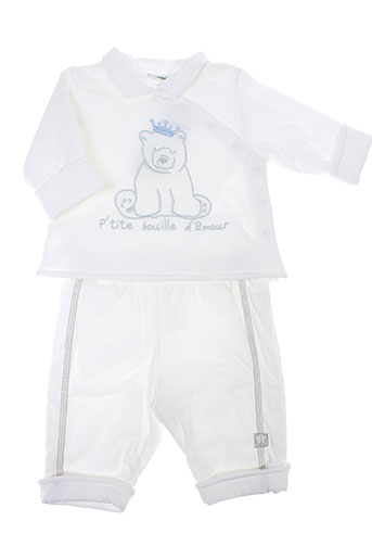 3 et pommes pantalon et veste enfant de couleur blanc (photo)