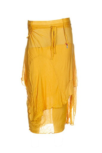 Jupe mi-longue jaune CATY LESCA pour femme