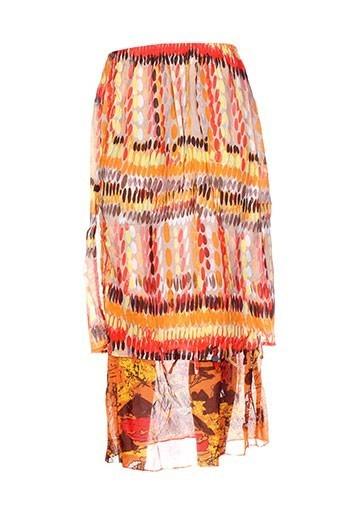 Jupe longue orange CATY LESCA pour femme