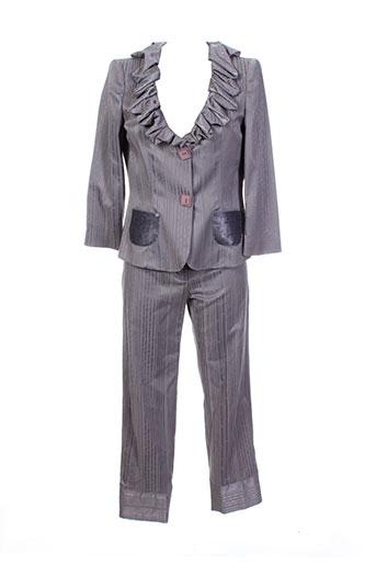 mariella et rosati pantalon et veste femme de couleur gris