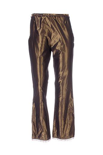 kristina popovitch pantalons femme de couleur marron