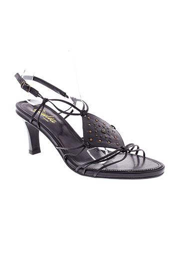 giulia sandales et nu et pieds femme de couleur noir
