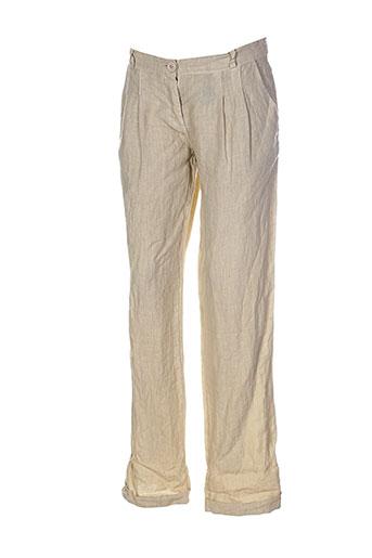 puro et lino pantalons et decontractes femme de couleur beige
