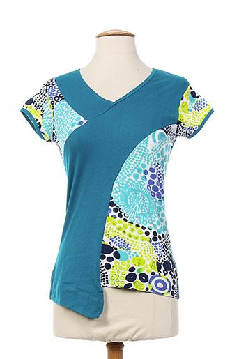 coton du monde chemises femme de couleur bleu