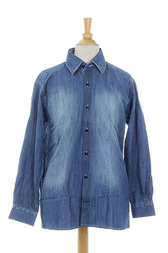 xoos chemises fille de couleur bleu