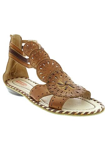 pikolinos sandales et nu et pieds femme de couleur marron