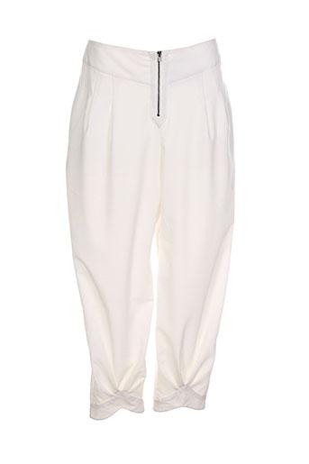 lauren vidal pantalons femme de couleur blanc