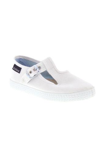 aster chaussures fille de couleur blanc