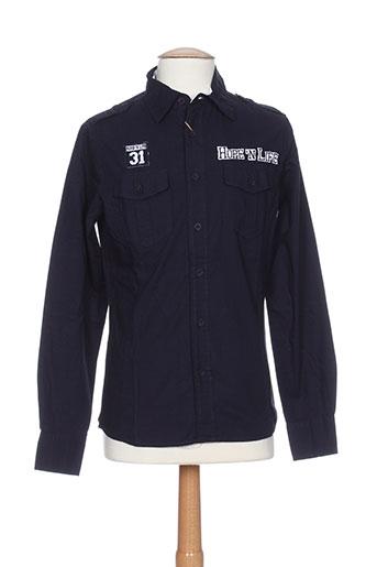 hopenlife chemises homme de couleur bleu