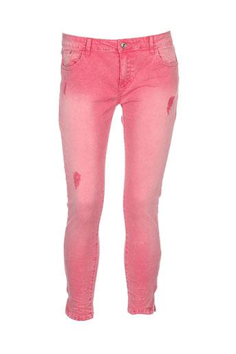 place et du et jour pantalons et decontractes femme de couleur rose