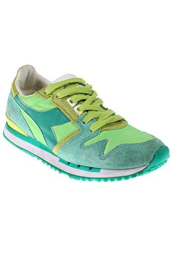 diadora heritage chaussures femme de couleur vert