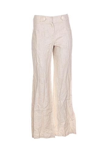 renatto bene pantalons femme de couleur beige