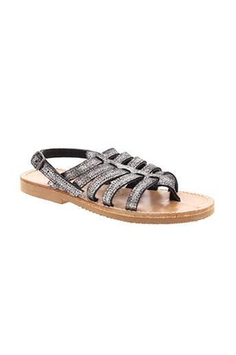 griffe noire chaussures fille de couleur gris