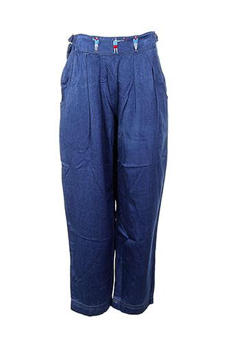 droit fil pantalons femme de couleur bleu