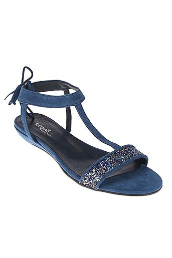 reqins sandales et nu et pieds femme de couleur bleu