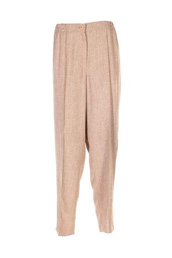 Pantalon casual beige ELENA GRUNERT pour femme