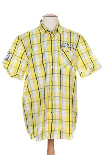 cambe chemises homme de couleur jaune