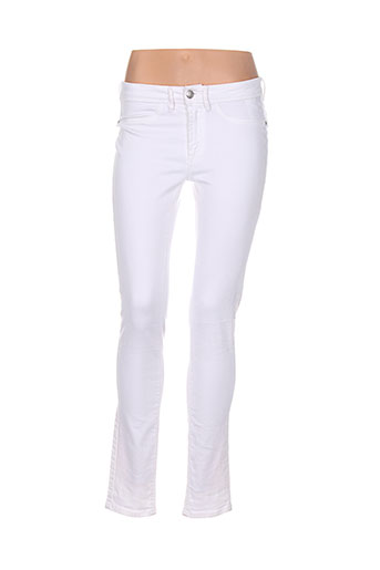 ichi pantalons femme de couleur blanc
