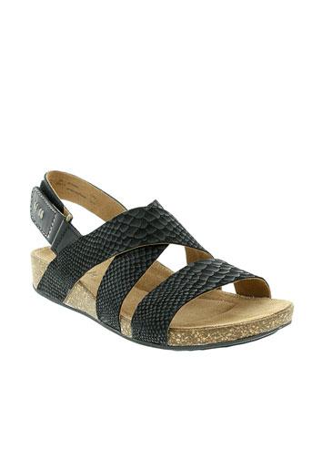 clarks sandales et nu et pieds femme de couleur noir