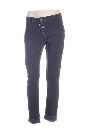 jayko pantalons femme de couleur bleu