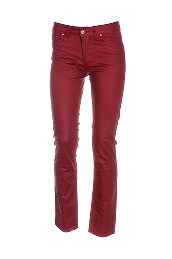 onado pantalons femme de couleur rouge