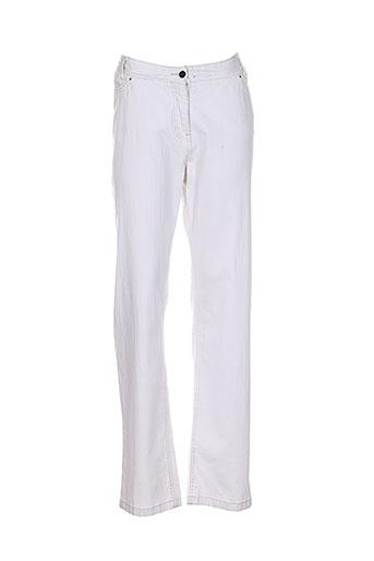 atika pantalons femme de couleur blanc