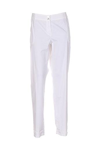 caroline biss pantalons femme de couleur blanc
