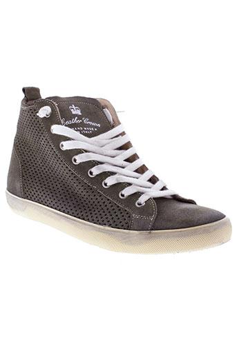 leather crown chaussures homme de couleur vert