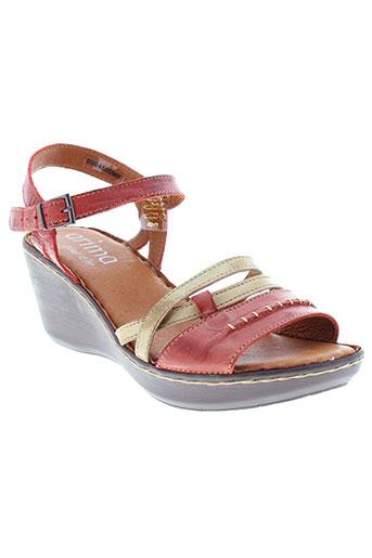 arima sandales et nu et pieds femme de couleur rouge