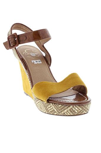 karston sandales et nu et pieds femme de couleur jaune