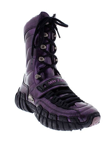 new et rock bottines femme de couleur violet